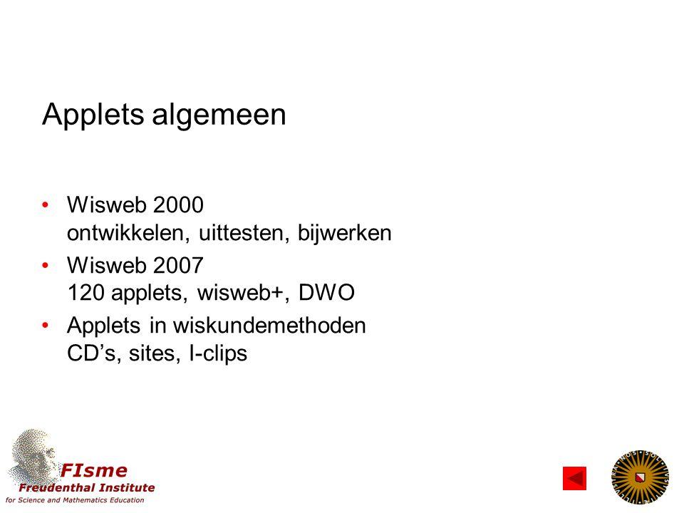 Applets algemeen Wisweb 2000 ontwikkelen, uittesten, bijwerken