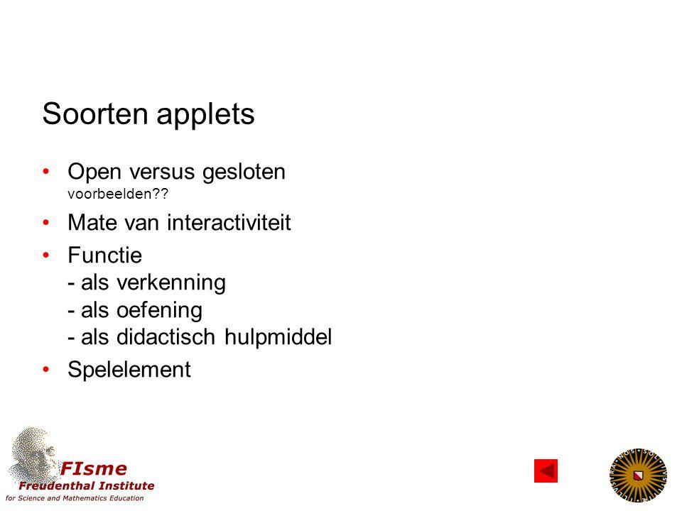Soorten applets Open versus gesloten voorbeelden