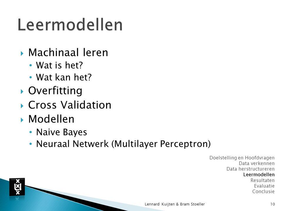Leermodellen Machinaal leren Overfitting Cross Validation Modellen