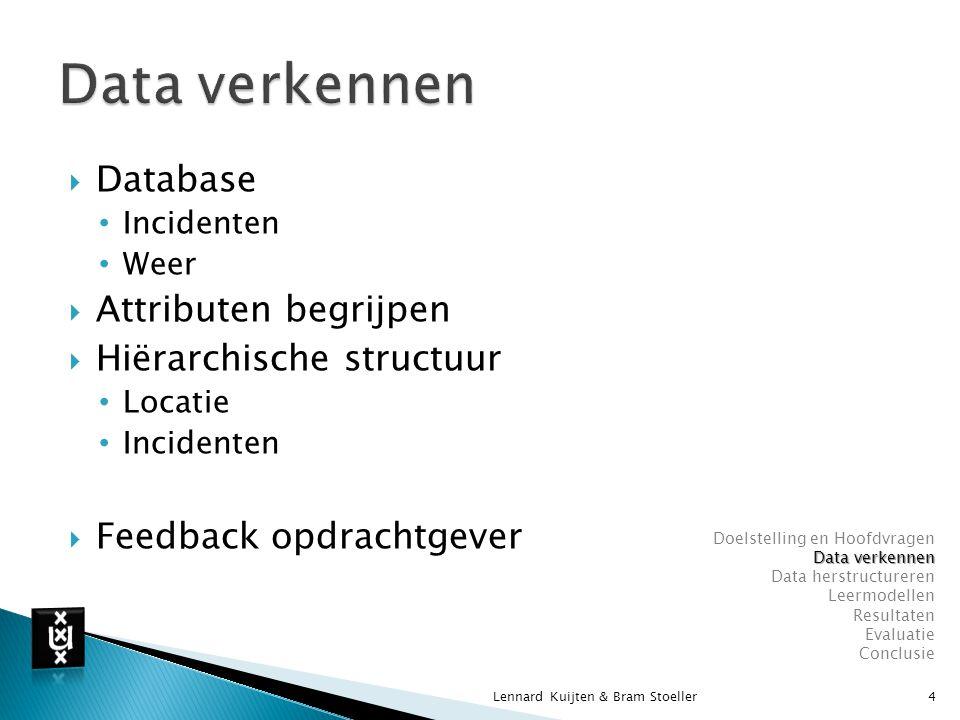 Data verkennen Database Attributen begrijpen Hiërarchische structuur