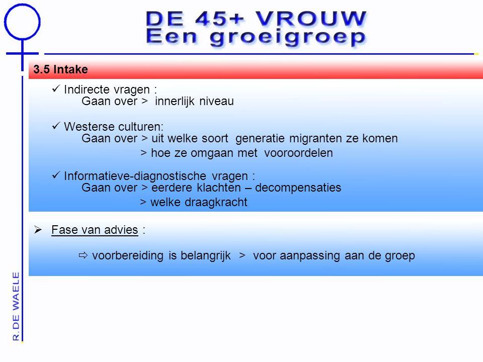 3.5 Intake  Indirecte vragen : Gaan over > innerlijk niveau.  Westerse culturen: Gaan over > uit welke soort generatie migranten ze komen.