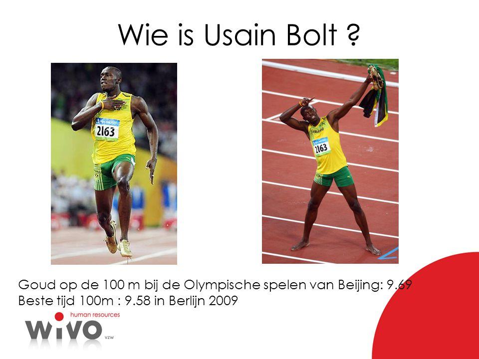 Wie is Usain Bolt . Goud op de 100 m bij de Olympische spelen van Beijing: 9.69.