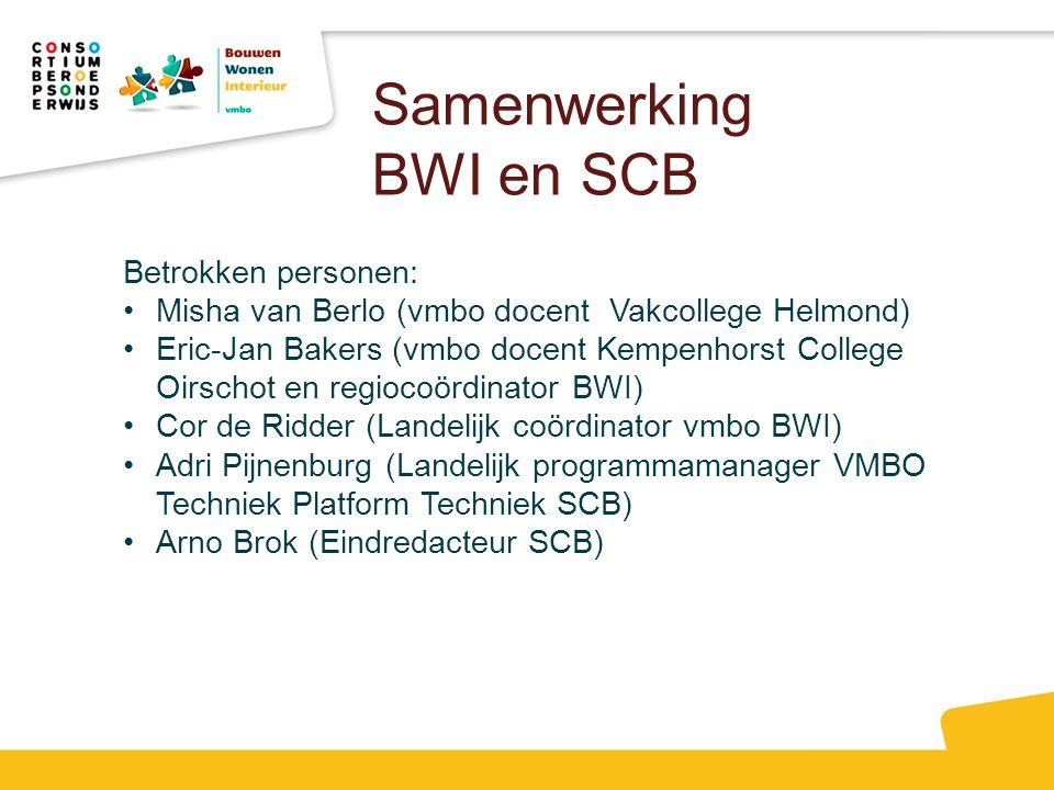 Samenwerking BWI en SCB
