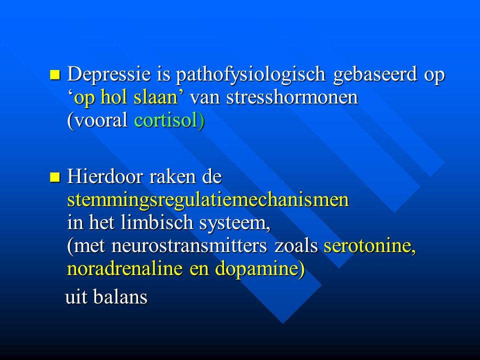 Depressie is pathofysiologisch gebaseerd op 'op hol slaan' van stresshormonen (vooral cortisol)