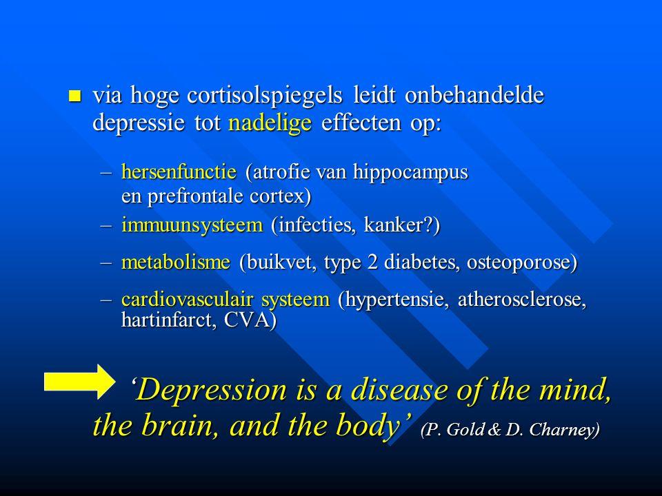 via hoge cortisolspiegels leidt onbehandelde depressie tot nadelige effecten op: