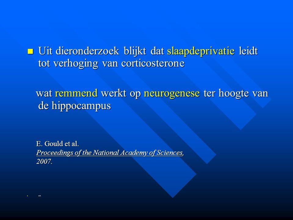 wat remmend werkt op neurogenese ter hoogte van de hippocampus