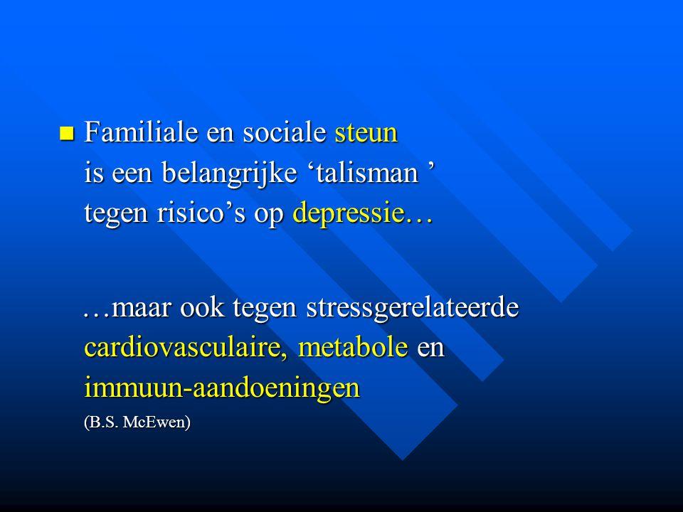 Familiale en sociale steun is een belangrijke 'talisman ' tegen risico's op depressie…