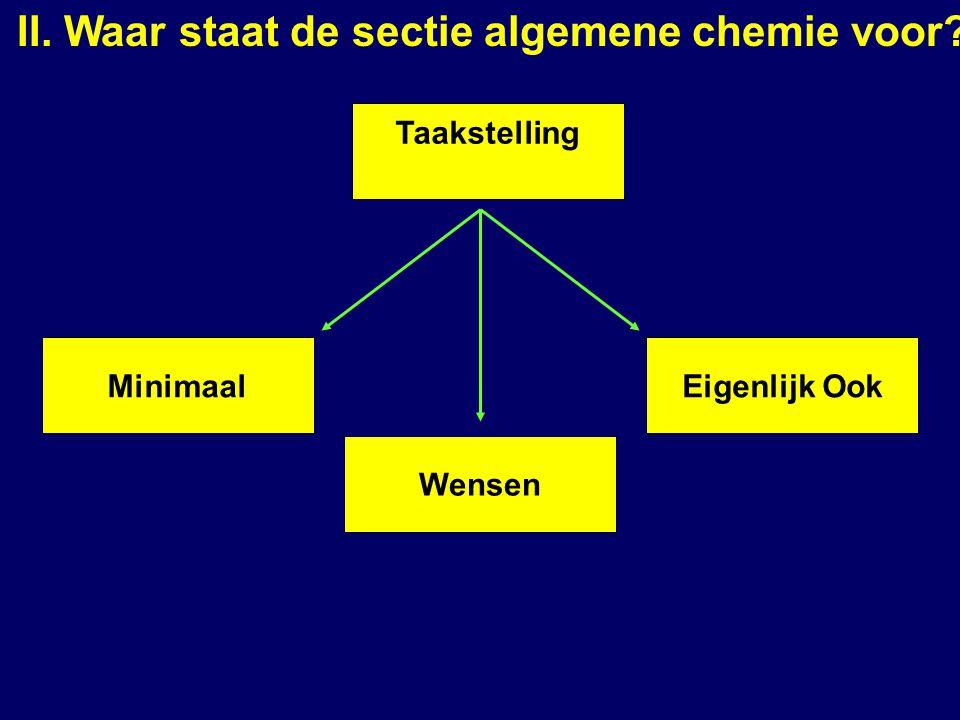 II. Waar staat de sectie algemene chemie voor