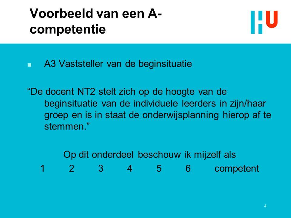 Voorbeeld van een A-competentie
