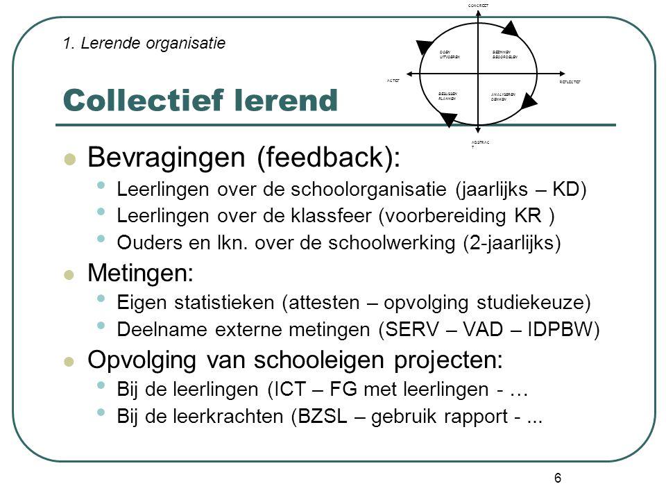 Collectief lerend Bevragingen (feedback): Metingen: