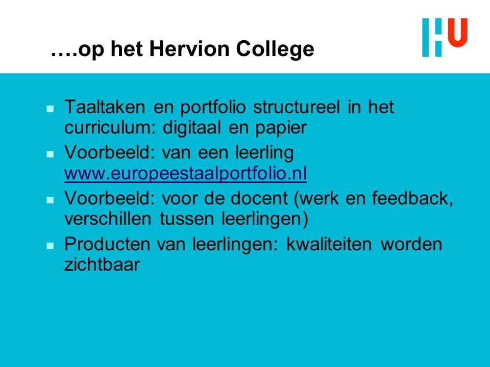 ….op het Hervion College