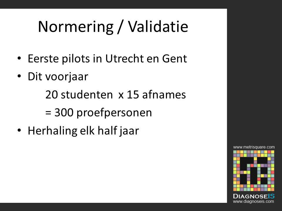 Normering / Validatie Eerste pilots in Utrecht en Gent Dit voorjaar