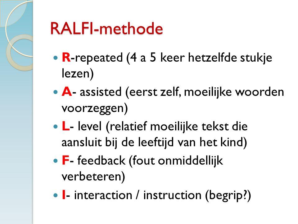 RALFI-methode R-repeated (4 a 5 keer hetzelfde stukje lezen)