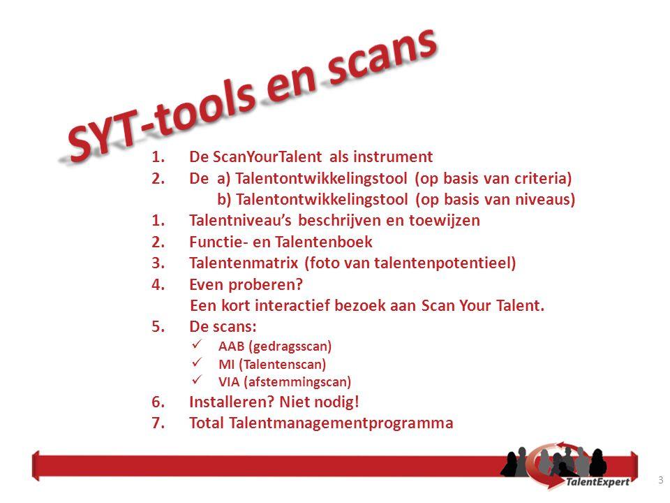 SYT-tools en scans De ScanYourTalent als instrument