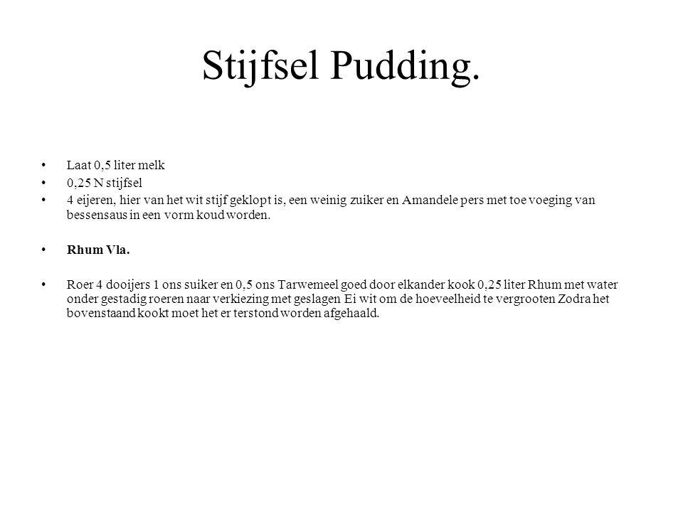 Stijfsel Pudding. Laat 0,5 liter melk 0,25 N stijfsel