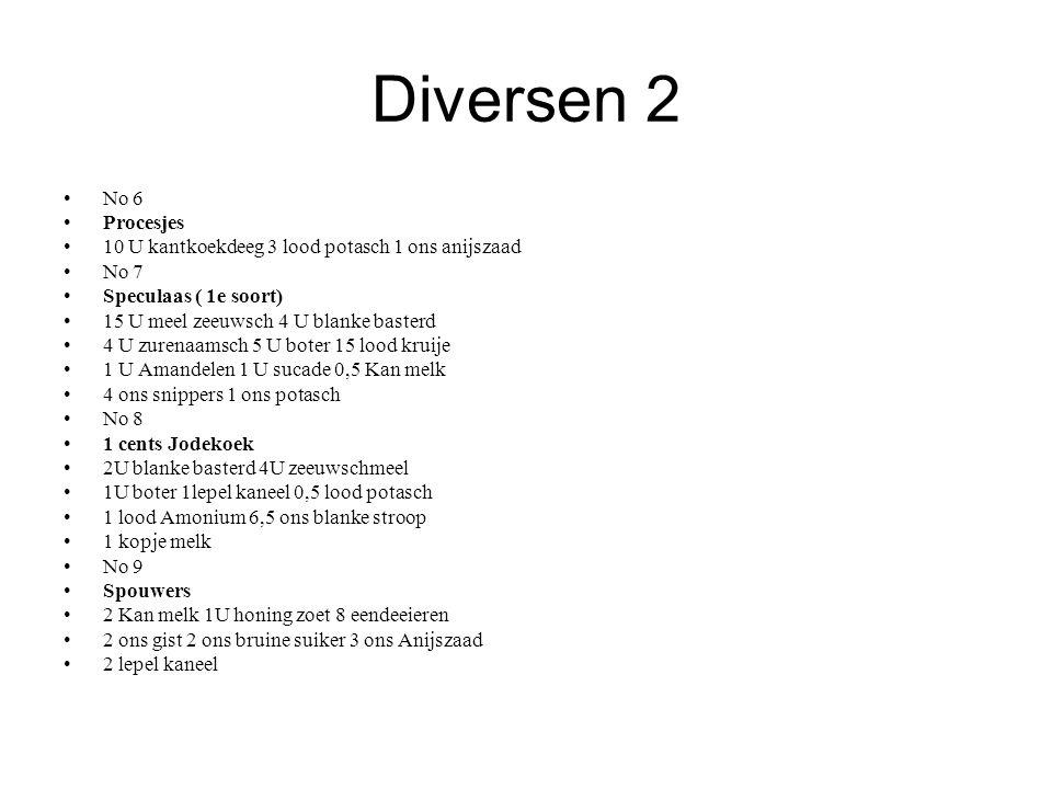 Diversen 2 No 6. Procesjes. 10 U kantkoekdeeg 3 lood potasch 1 ons anijszaad. No 7. Speculaas ( 1e soort)