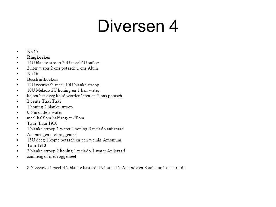 Diversen 4 No 15 Ringkoeken 14U blanke stroop 20U meel 6U suiker