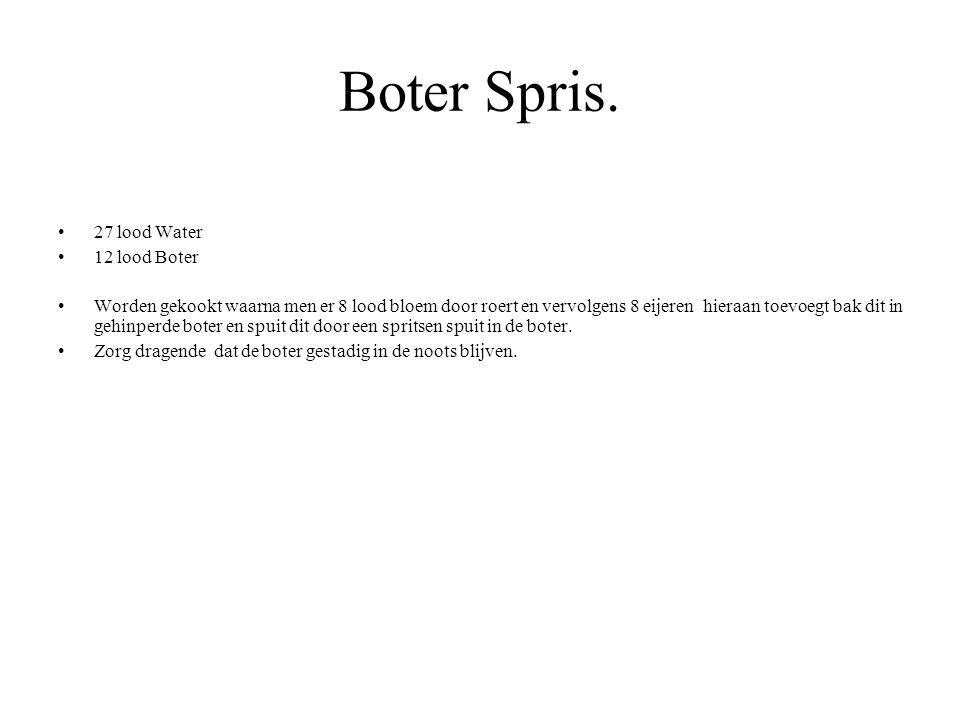 Boter Spris. 27 lood Water 12 lood Boter