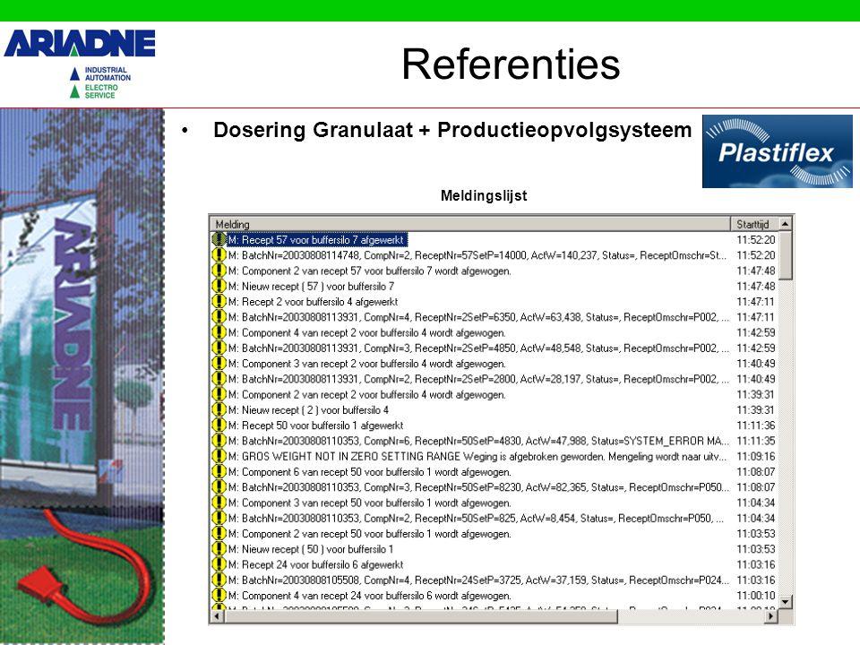 Referenties Dosering Granulaat + Productieopvolgsysteem Meldingslijst