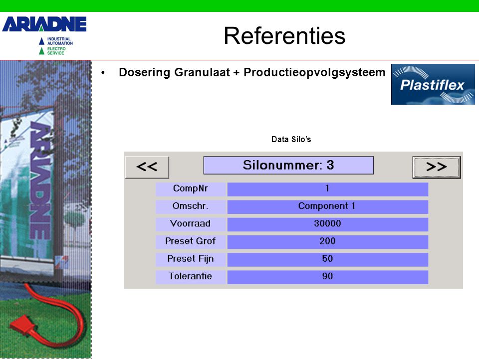 Referenties Dosering Granulaat + Productieopvolgsysteem Data Silo's
