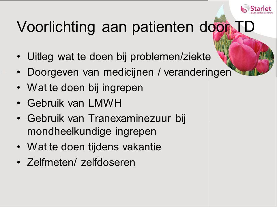 Voorlichting aan patienten door TD