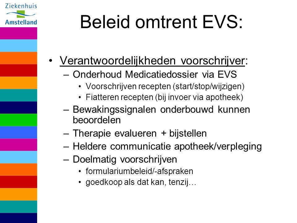 Beleid omtrent EVS: Verantwoordelijkheden voorschrijver: