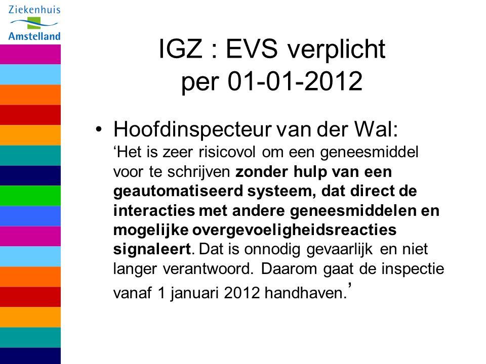 IGZ : EVS verplicht per 01-01-2012