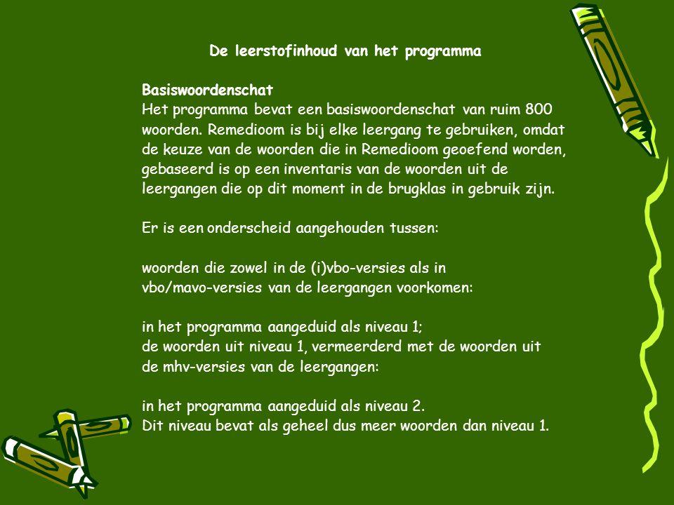 De leerstofinhoud van het programma