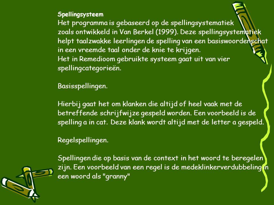 Spellingsysteem Het programma is gebaseerd op de spellingsystematiek. zoals ontwikkeld in Van Berkel (1999). Deze spellingsystematiek.