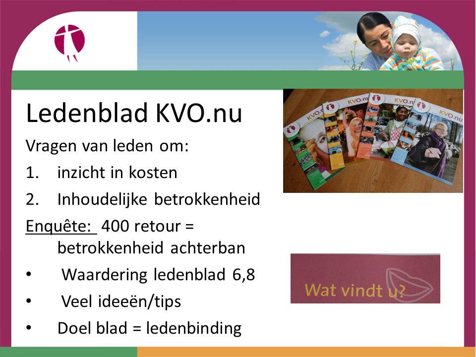Ledenblad KVO.nu Vragen van leden om: inzicht in kosten