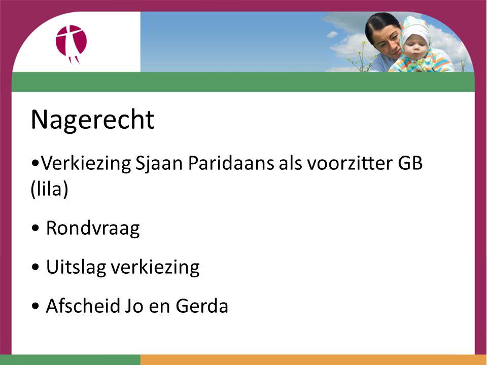 Nagerecht Verkiezing Sjaan Paridaans als voorzitter GB (lila)