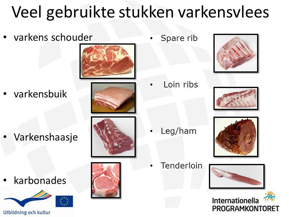 Veel gebruikte stukken varkensvlees