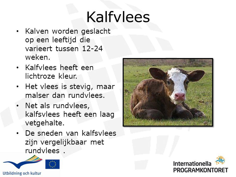 Kalfvlees Kalven worden geslacht op een leeftijd die varieert tussen 12-24 weken. Kalfvlees heeft een lichtroze kleur.