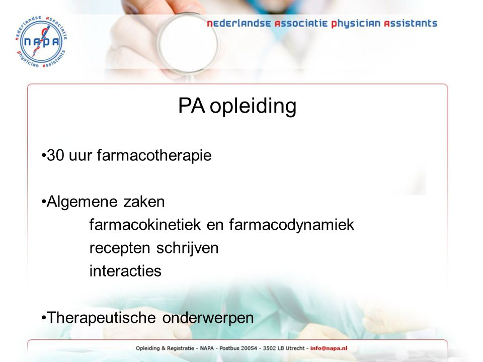 PA opleiding 30 uur farmacotherapie Algemene zaken