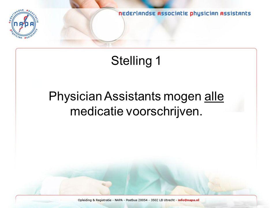 Physician Assistants mogen alle medicatie voorschrijven.