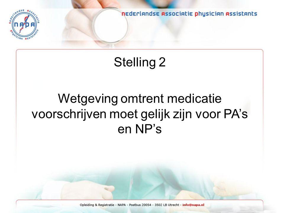 Stelling 2 Wetgeving omtrent medicatie voorschrijven moet gelijk zijn voor PA's en NP's