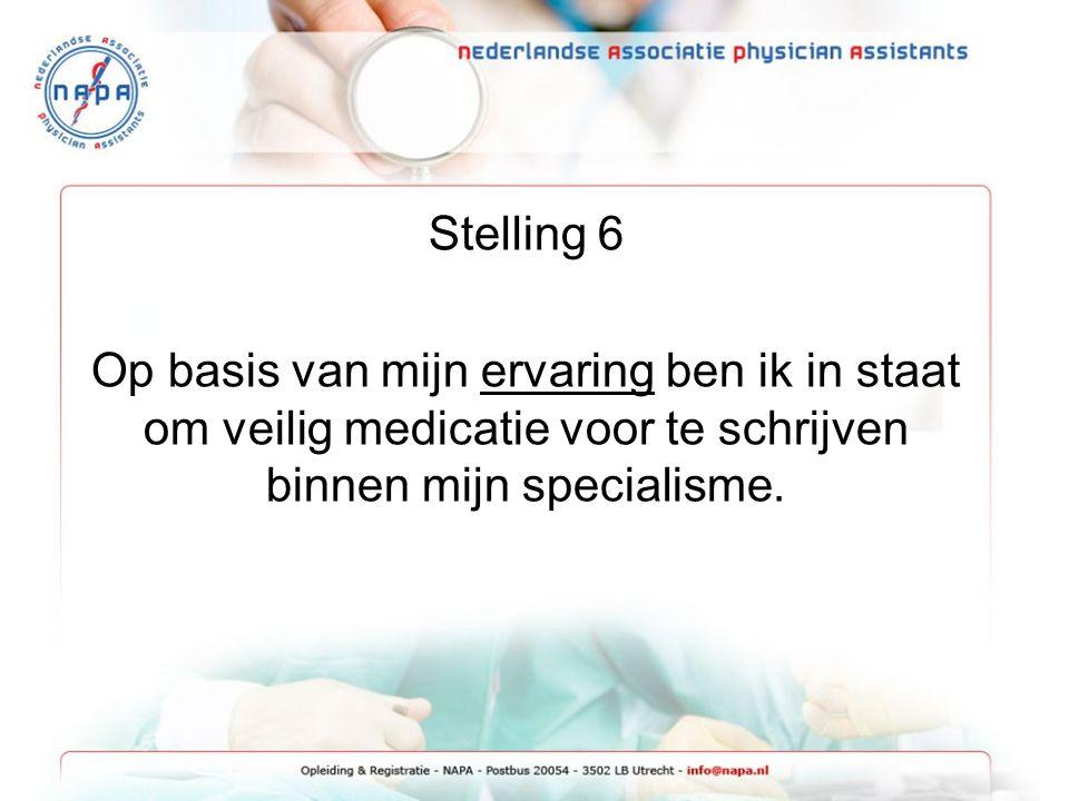 Stelling 6 Op basis van mijn ervaring ben ik in staat om veilig medicatie voor te schrijven binnen mijn specialisme.