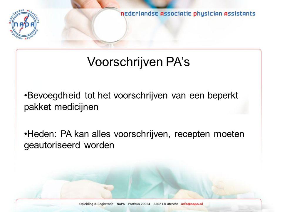 Voorschrijven PA's Bevoegdheid tot het voorschrijven van een beperkt pakket medicijnen.