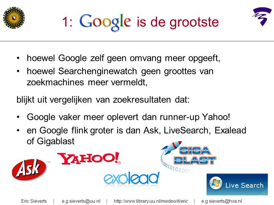 1: google is de grootste hoewel Google zelf geen omvang meer opgeeft,