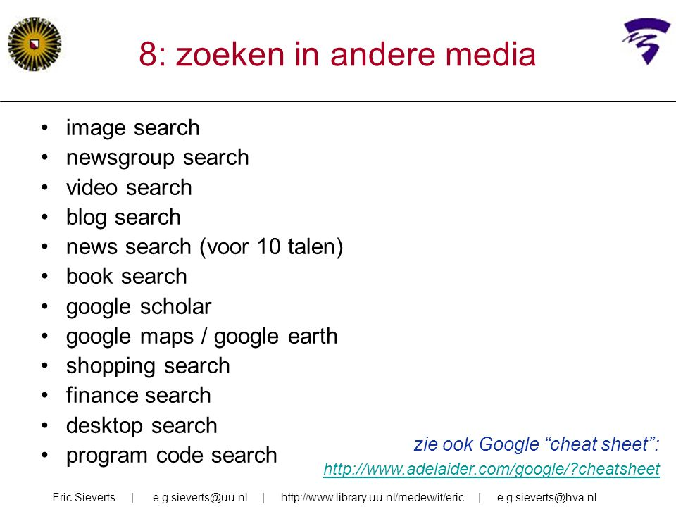 8: zoeken in andere media