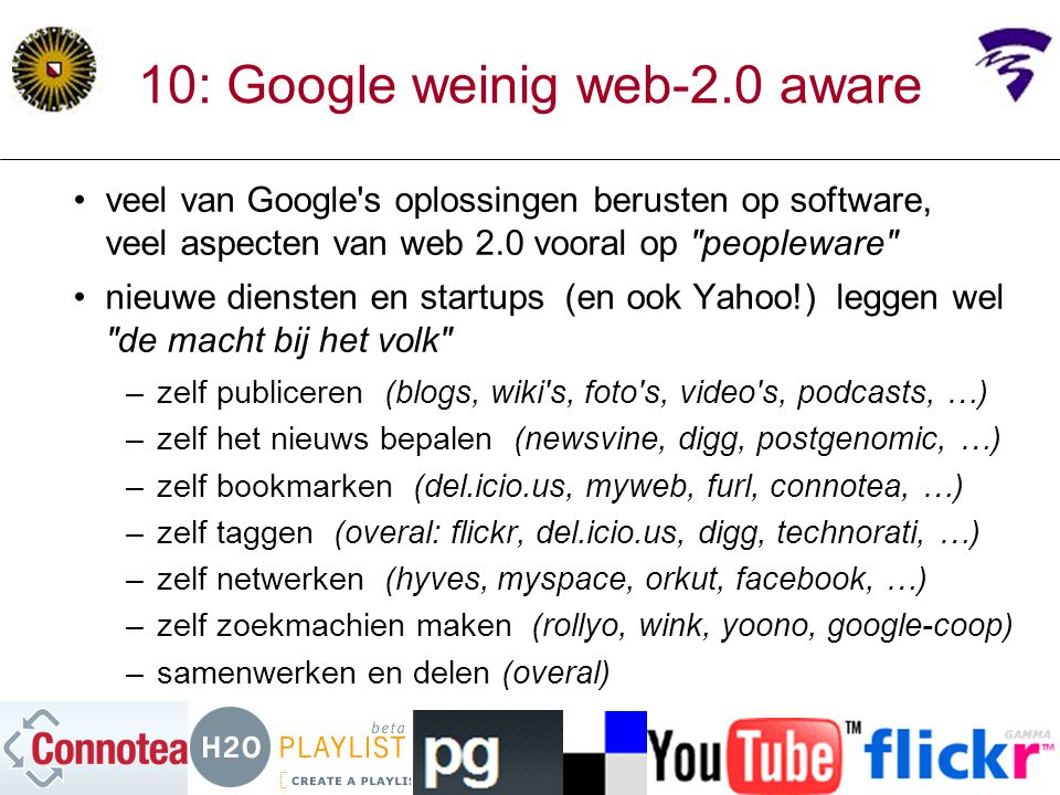 10: Google weinig web-2.0 aware
