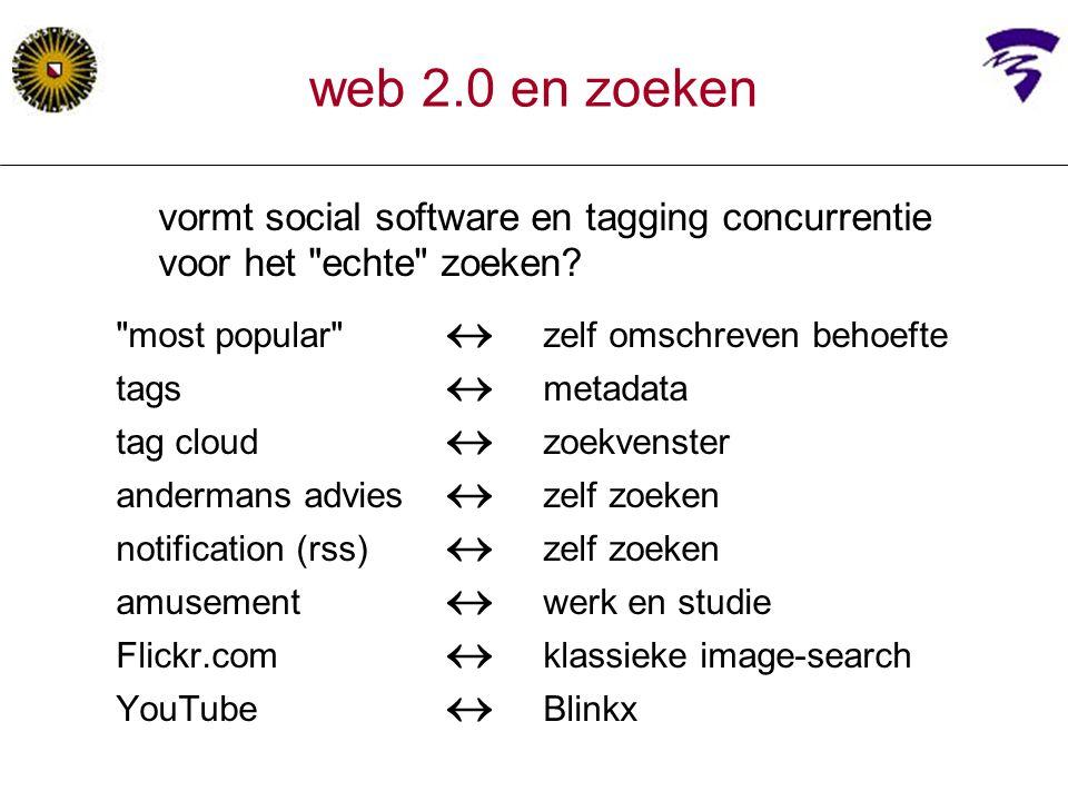 web 2.0 en zoeken vormt social software en tagging concurrentie voor het echte zoeken most popular  zelf omschreven behoefte.