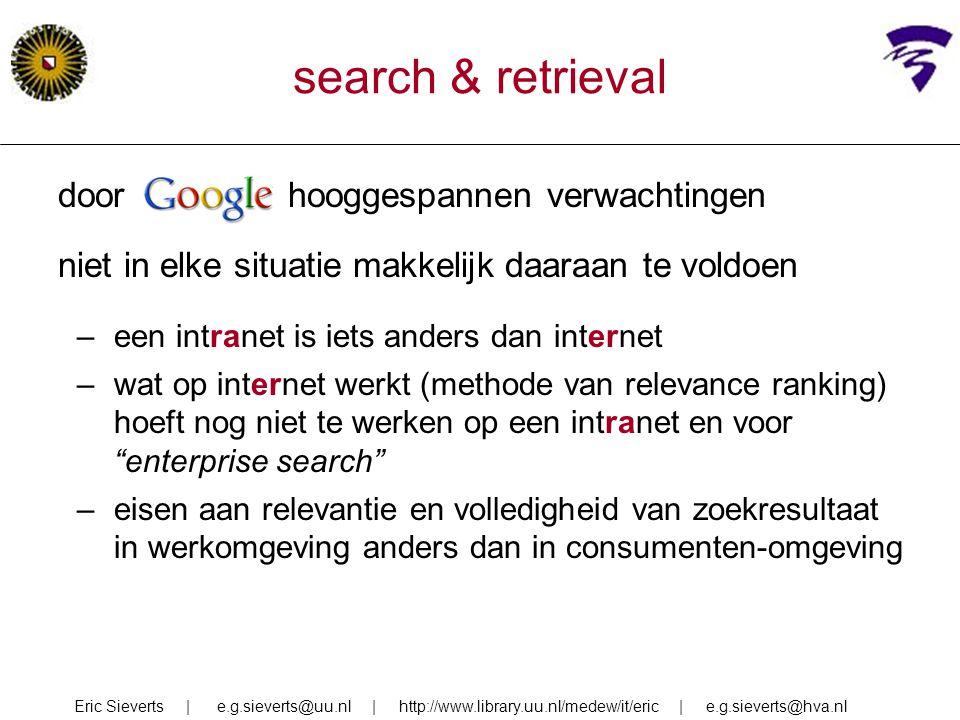 search & retrieval door Google hooggespannen verwachtingen
