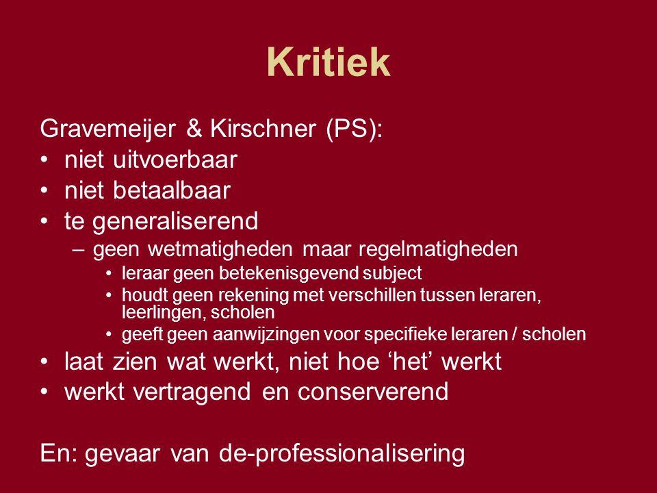 Kritiek Gravemeijer & Kirschner (PS): niet uitvoerbaar niet betaalbaar