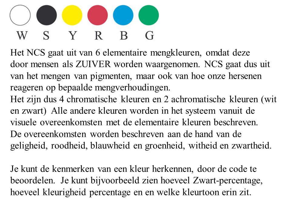Het NCS gaat uit van 6 elementaire mengkleuren, omdat deze