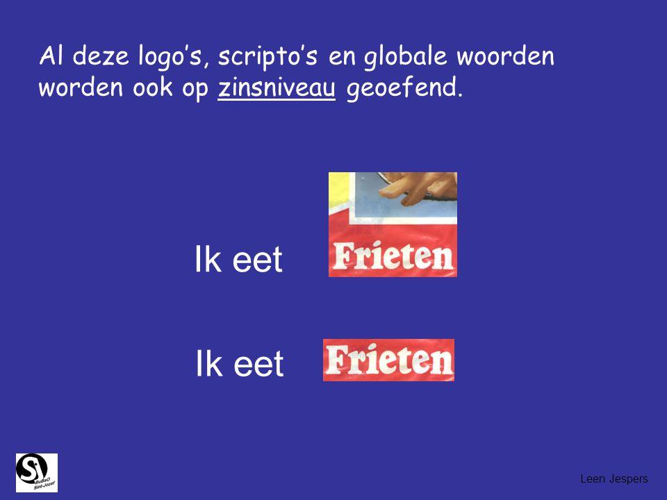Al deze logo's, scripto's en globale woorden worden ook op zinsniveau geoefend.