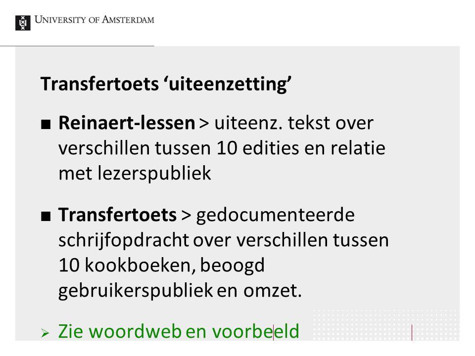 Transfertoets 'uiteenzetting'