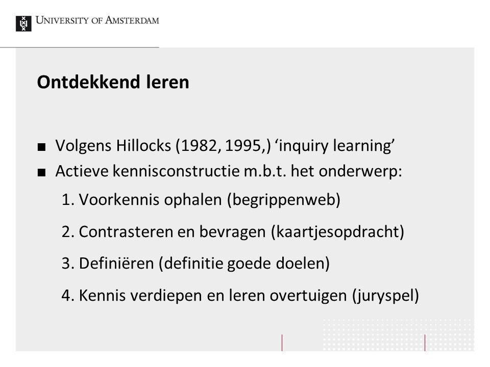 Ontdekkend leren Volgens Hillocks (1982, 1995,) 'inquiry learning'