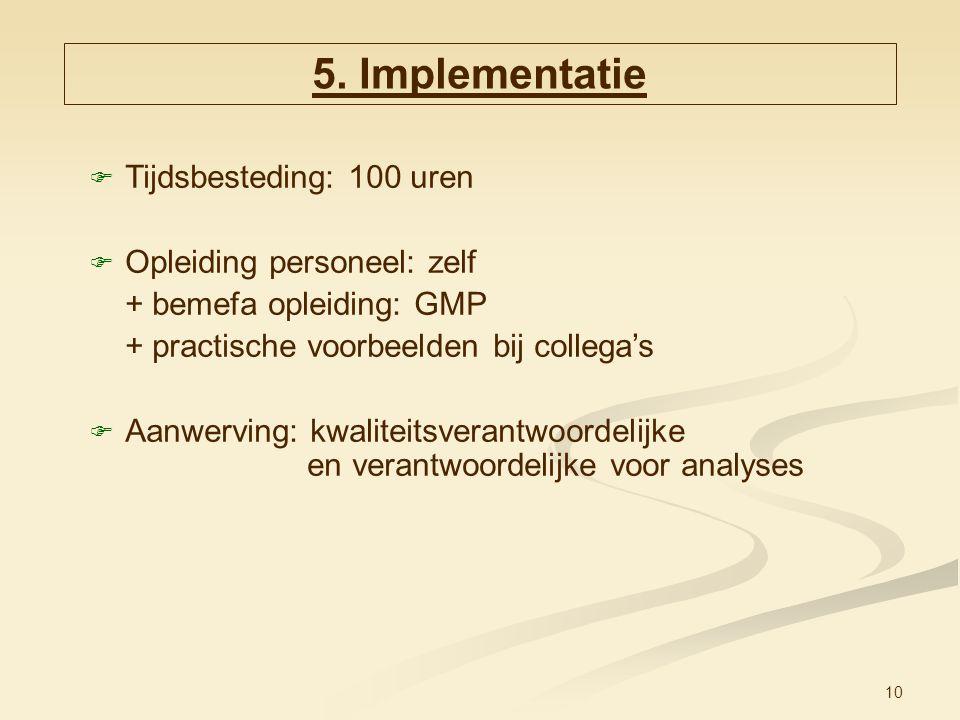5. Implementatie Tijdsbesteding: 100 uren Opleiding personeel: zelf