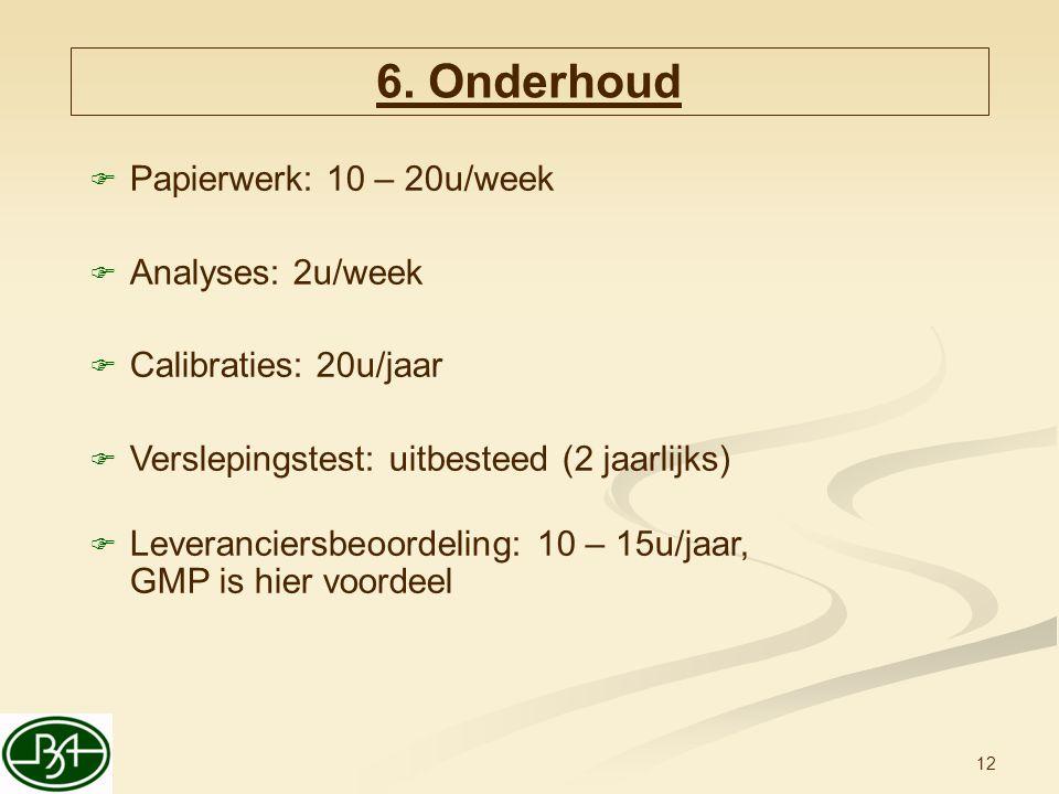 6. Onderhoud Papierwerk: 10 – 20u/week Analyses: 2u/week